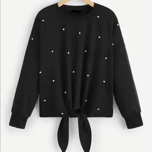 Crew Neck Tie Front Pearl Pullover Sweater Black.